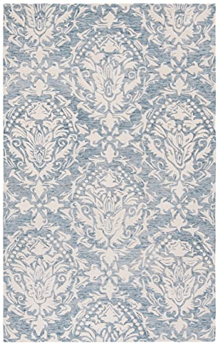 Safavieh Blossom Collection BLM107B Floral Vines Blue and Ivory Premium Wool Area Rug 5 x 8