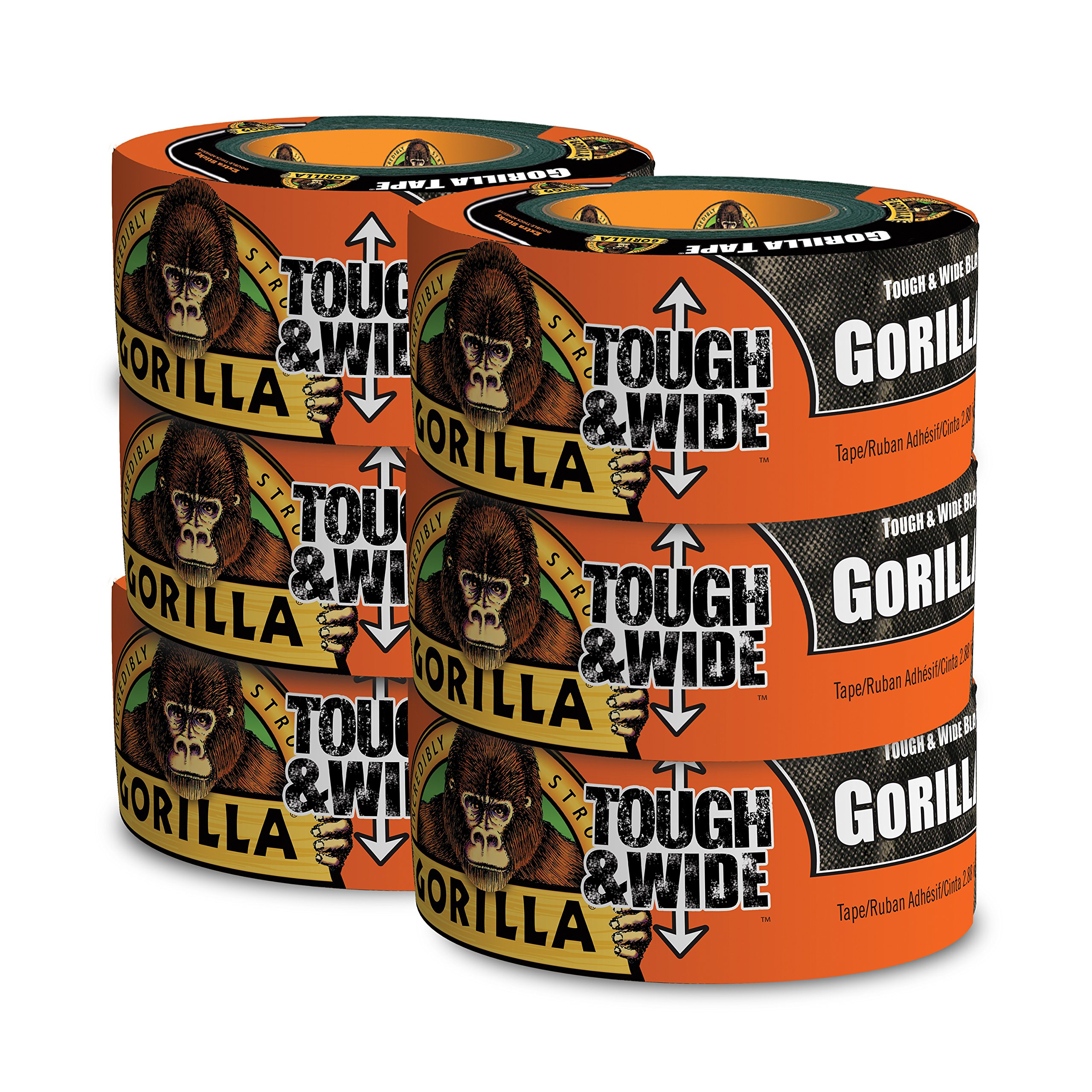 Gorilla Tape, Black Tough & Wide Duct Tape, 2.88'' x 30 yd, Black, (Pack of 6) by Gorilla