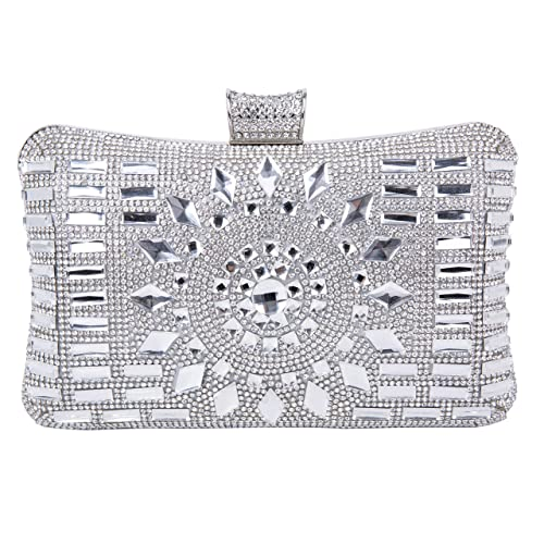 Tanpell Women s Rhinestone Evening Bag Crystal Clutches Bags Wedding Purse  with Detachable Chain Silver ef207f07deb1