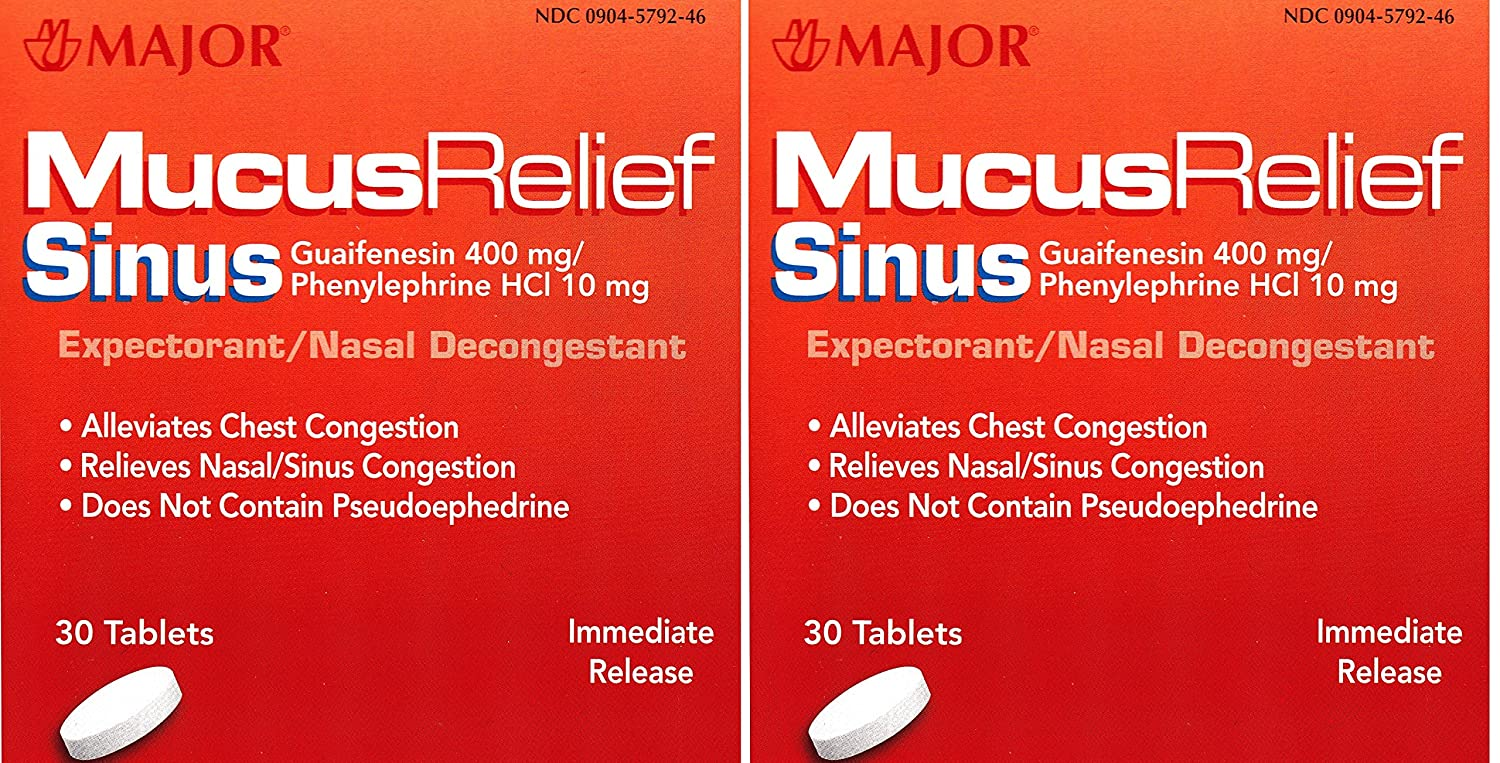 Amazon.com: Mucus Relief PE Guaifenesin 400 mg Expectorant and Phenylephrine  10 mg Nasal Decongestant Generic for Mucinex Sinus Tablets 30 ea.