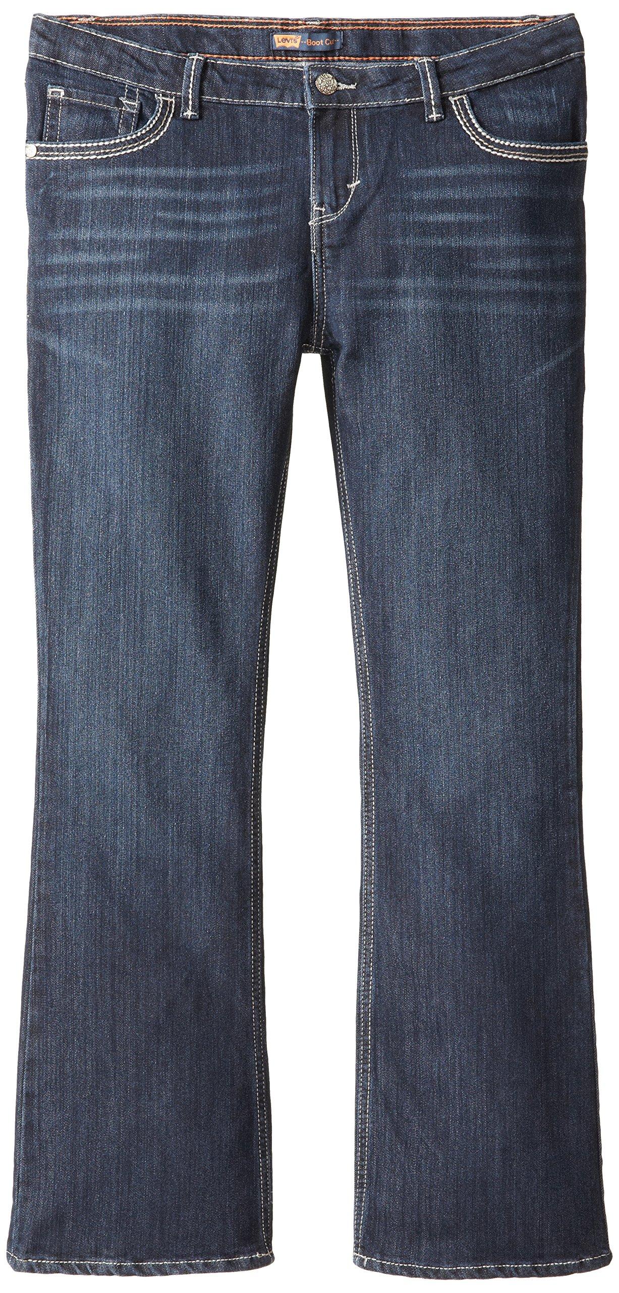 Levi's Girls' Plus Size 715 Bootcut Thick Stitch Jeans, Tailored Indigo 16.5