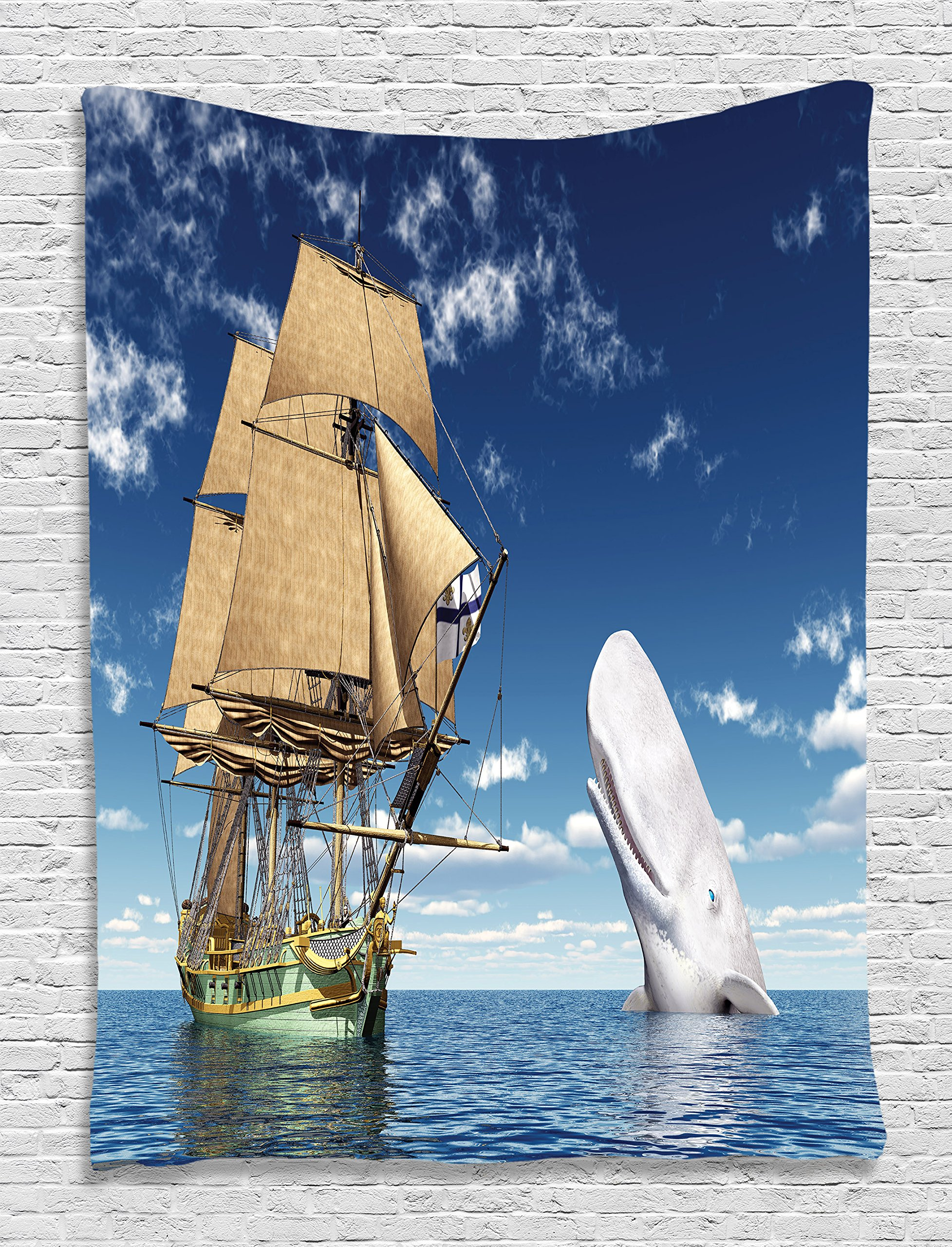 Ambesonne Whale Decor Ocean Lover Pirate Flag Sailorboat Ornament Decorations Living Room Bedroom Accessories for Home Dorm Kids Youth Nursery Wall Decor Tapestry Wall Hanging, White Blue