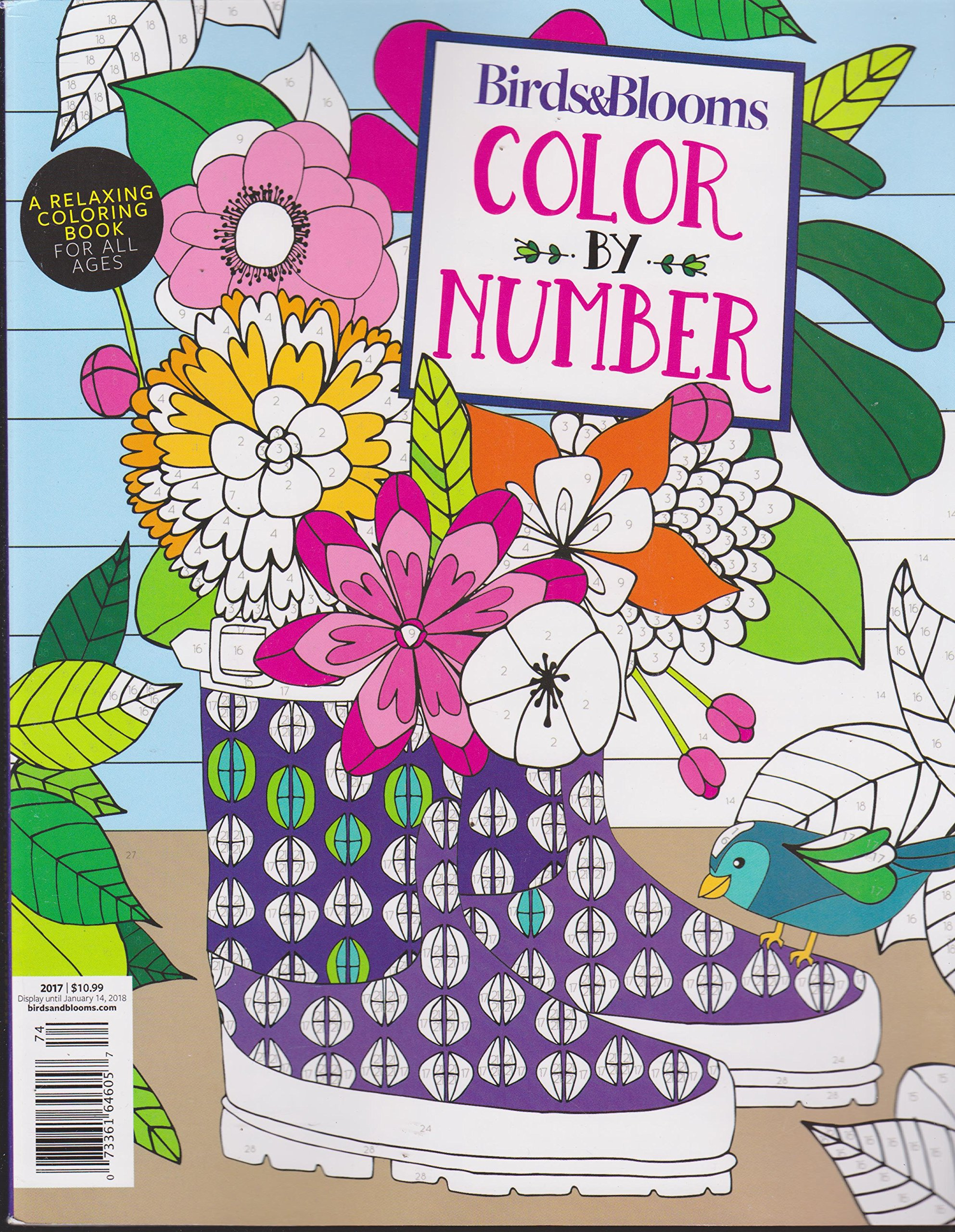 Birds Blooms Color By Number 2017 Relaxing Coloring Book Amazon Books