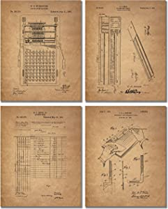 Accountant Patent Print - Set of 4 Office Decor Photos - Bookkeeper Ledger