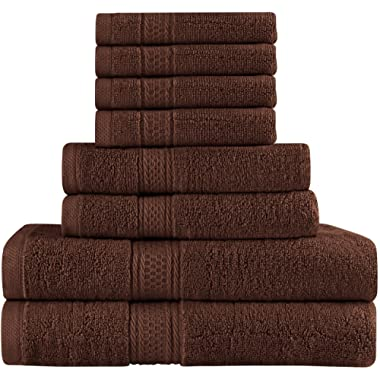 Premium 8 Piece Towel Set (Dark Brown); 2 Bath Towels, 2 Hand Towels and 4 Washcloths - Cotton - Machine Washable, Hotel Quality, Super Soft and Highly Absorbent by Utopia Towels