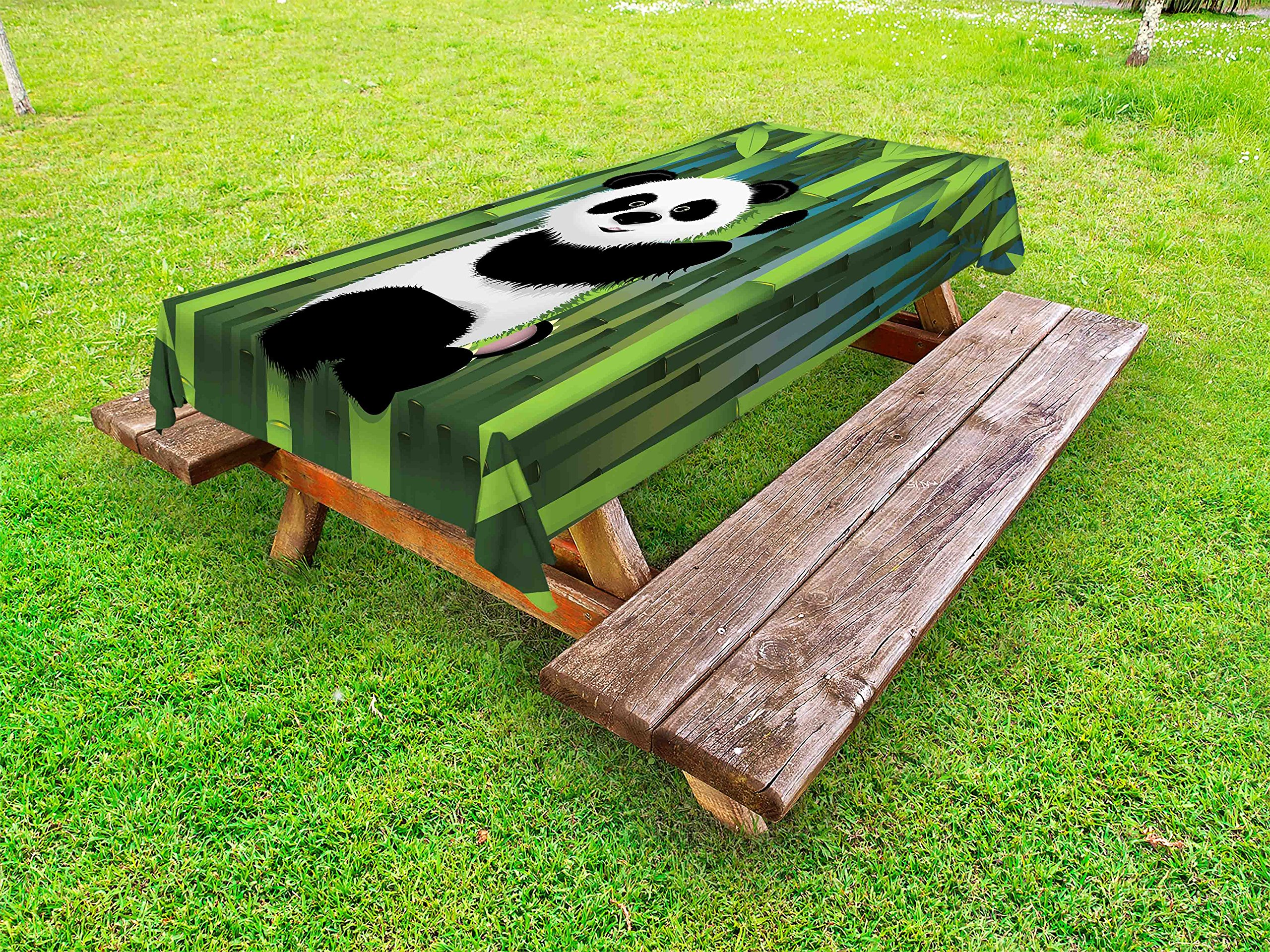 Lunarable Cartoon Outdoor Tablecloth, Curious Baby Panda on Stem of the Bamboo Bear Jungle Wood Illustration, Decorative Washable Picnic Table Cloth, 58 X 84 Inches, Fern Green Black White