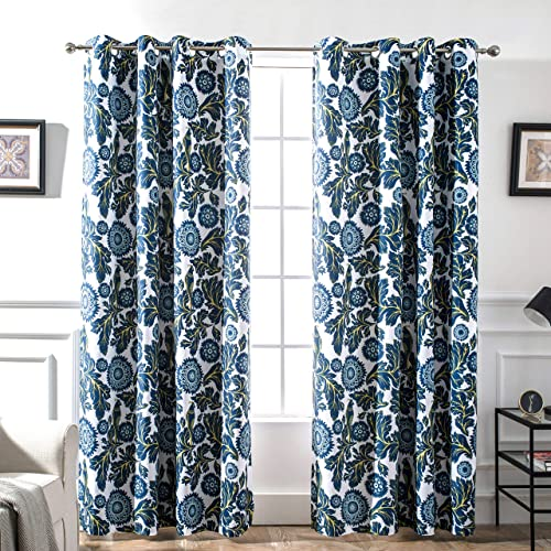 DriftAway Bird Tree Floral Flower Leaf Lined Thermal Insulated Blackout Room Darkening Grommet Energy Saving Window Curtains 2 Layer Set of 2 Panels Each 52 Inch by 84 Inch Navy