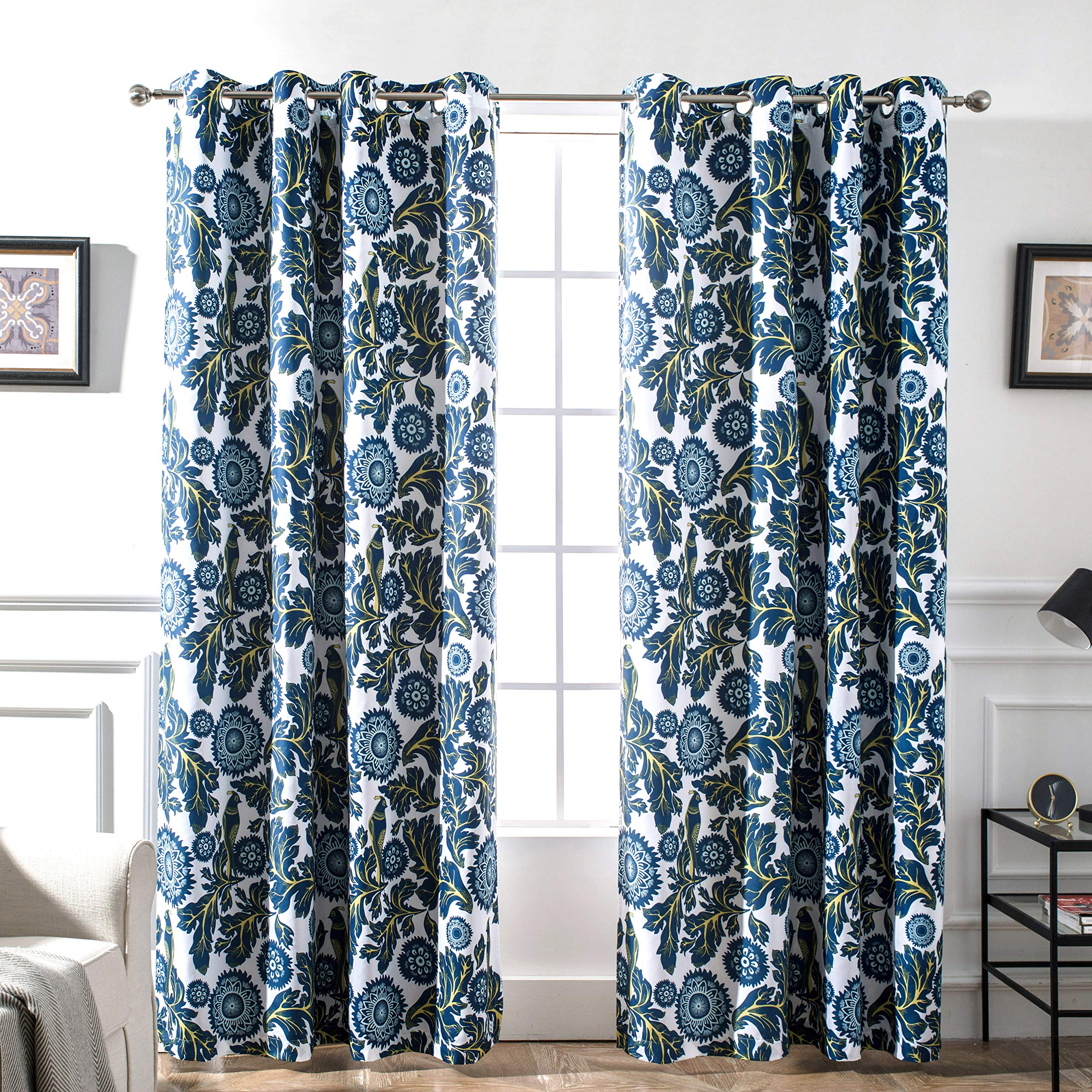 DriftAway Bird Tree Floral Flower Leaf Lined Thermal Insulated Blackout Room Darkening Grommet Energy Saving Window Curtains 2 Layer Set of 2 Panels Each 52 Inch by 84 Inch Navy by DriftAway