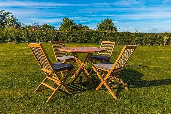 Kingfisher - 5 piezas Teca octogonal mesa con sillas plegables ...