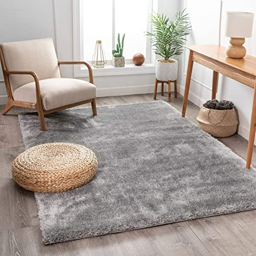 Shimmer Shag Silver Grey Solid Modern Luster Ultra Thick Soft Plush Plain Area Rug 8 x 10 7'10″ x 9'10″ Contemporary Retro Polyester Textured Two Length 2″ Pile Yarn Easy Clean Fade Resistant