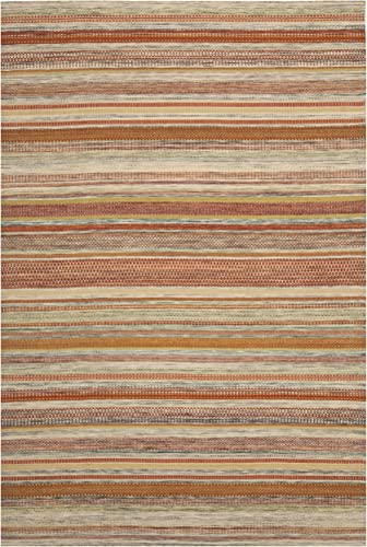 Safavieh Striped Kilim Collection STK311A Hand Woven Beige Premium Wool Area Rug 8 x 10