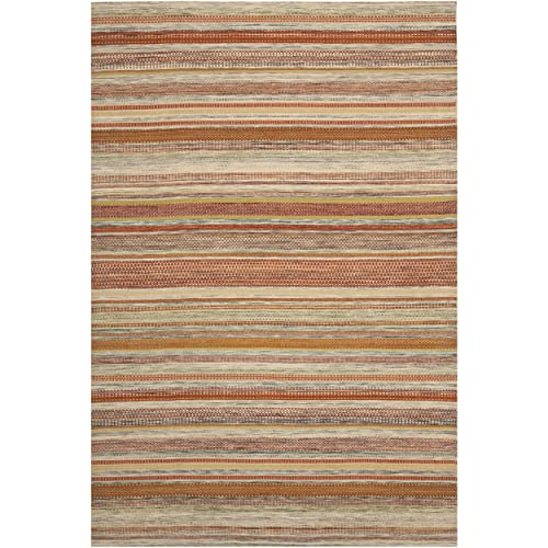 Safavieh Striped Kilim Collection STK311A Hand Woven Beige Premium Wool Area Rug 9 x 12