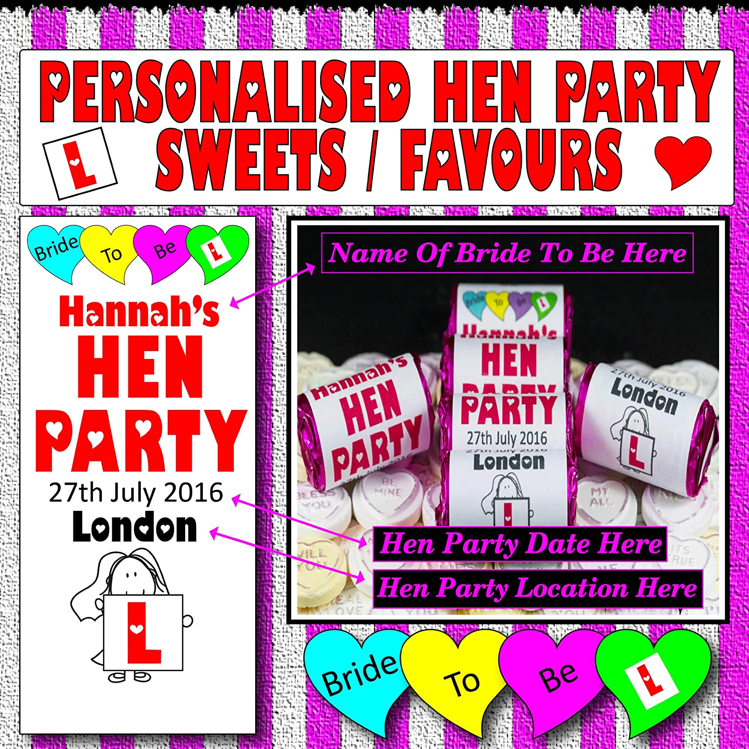Hen Party Hen Night Personalised x 25 Mini Love Heart Packs Personalised Favours / Sweets Each Pack/Roll Contains Seven Love Heart Sweets FK