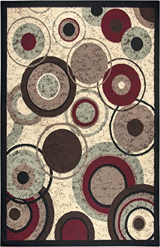 Rizzy Home Xcite Collection Polypropylene Area Rug, 5 2 x 7 3 , Beige Light Brown Brown Red Black Green Circles