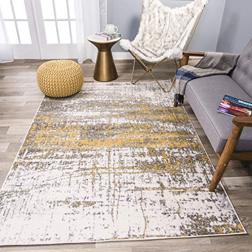 Rugshop Distressed Modern Abstract Design Area Rug 7 10 x 10 Yellow