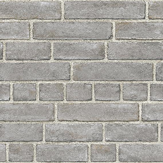 Nuwallpaper Nu2236 Grey Brick Facade Peel And Stick Wallpaper Amazon Com