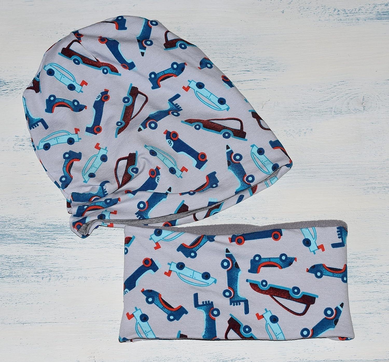 Conjunto Unisex de gorro y braga de cuello, con estampado de Coches, disponible en tallas de recié n nacido hasta 6 añ os, el gorro es de algodó n reversible, y la bufanda tiene tela de forro polar dentro.