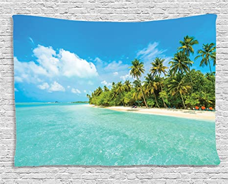 Ambesonne Ocean Decor Collection, Tropical Island Photo With Sandy Beach  And Palm Tree Nature Exotic