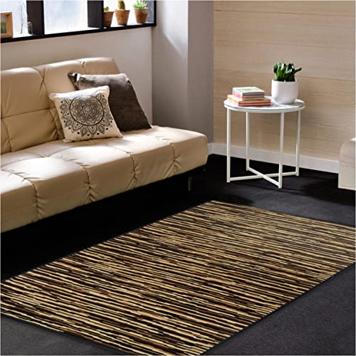 Superior Horizons Collection Area Rug, Attractive Rug with Jute Backing, Durable and Beautiful Woven Structure, Abstract Striped Rug – 4 x 6