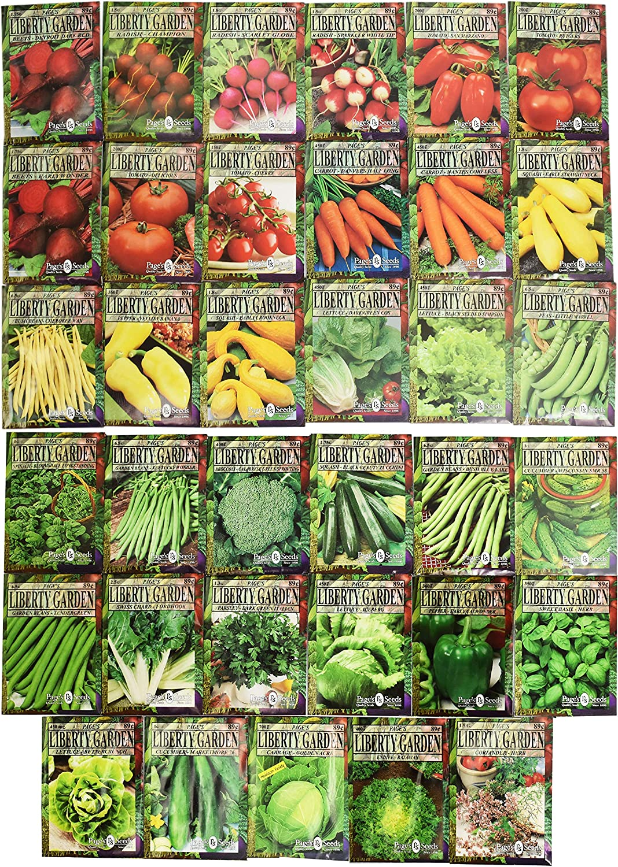 Set of 35 Premium Variety Herbs and Vegetables - Deluxe Garden Choices for Premium Gardening! (35 Liberty Garden Premium Vegetable)