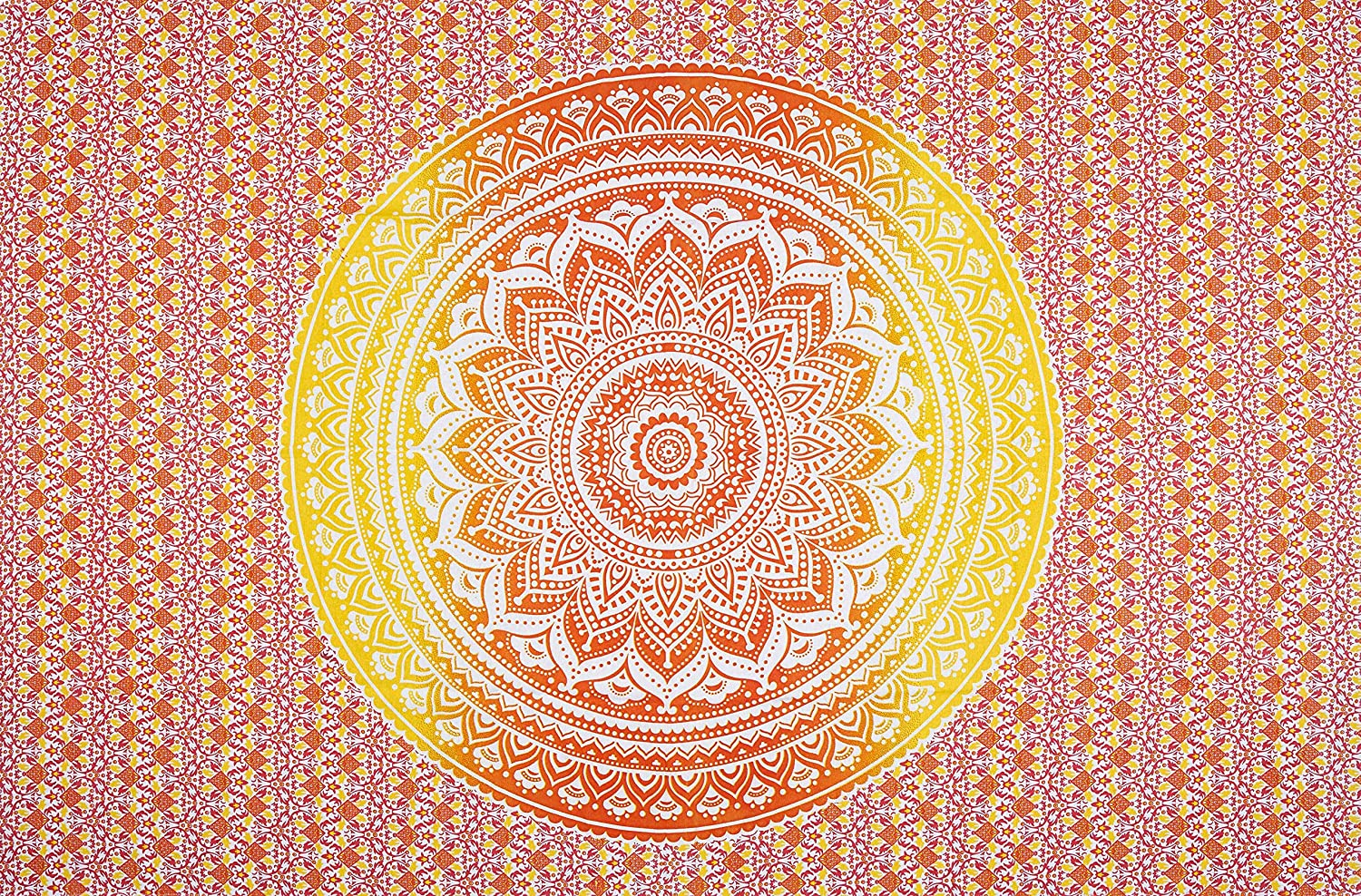 Baga Imports Indian Hippie Bohemian Orange Ombre Mandala Star Wall Hanging Tapestry Twin Size Bedding (82 x 54 inches) (Twin, Orange Yellow Star)