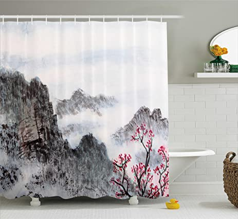 extra brown and red shower curtain. Asian Shower Curtain by Lunarable  Traditional Chinese Painting Landscape Sakura Cherry Tree Cloudy Mountains Amazon com