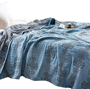 """MEJU Chinese Knot Muslin Lightweight Summer Blanket for Bed Sofa Couch, 100% Combed Cotton 3 Layer Soft Warm Quick Dry Throw Blanket Bed Coverlet Sheet (Chinese Knot Blue, F/Q 78"""" X 90"""")"""