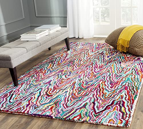 Safavieh Nantucket Collection NAN312A Handmade Abstract Chevron Multicolored Cotton Area Rug 9 x 12