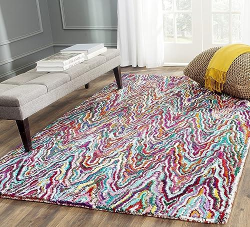 Safavieh Nantucket Collection NAN312A Handmade Abstract Chevron Multicolored Cotton Area Rug 4 x 6