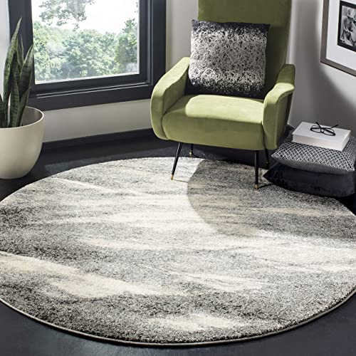 Safavieh Retro Collection RET2891-8012 Modern Abstract Grey and Ivory Round Area Rug 8' Diameter