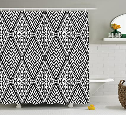 Ambesonne Geometric Shower Curtain Diamond And Triangle Diagonal Shaped Symmetric Aztec Folk Ethnic Pattern