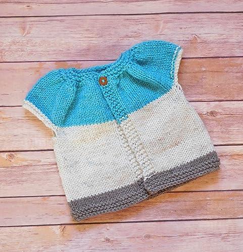 901d72e4f Amazon.com: Hand Knit Baby Sweater 0-12 Months - Baby Girl Short Sleeved  Cardigan: Handmade