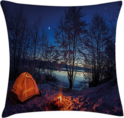 Lunarable Camper Throw Pillow Cushion Cover Tent In Winter Camp At Night Nature Exploration Trekking Image Illustration Decorative Square Accent Pillow Case 40 X 40 Dark Blue Orange Home Kitchen