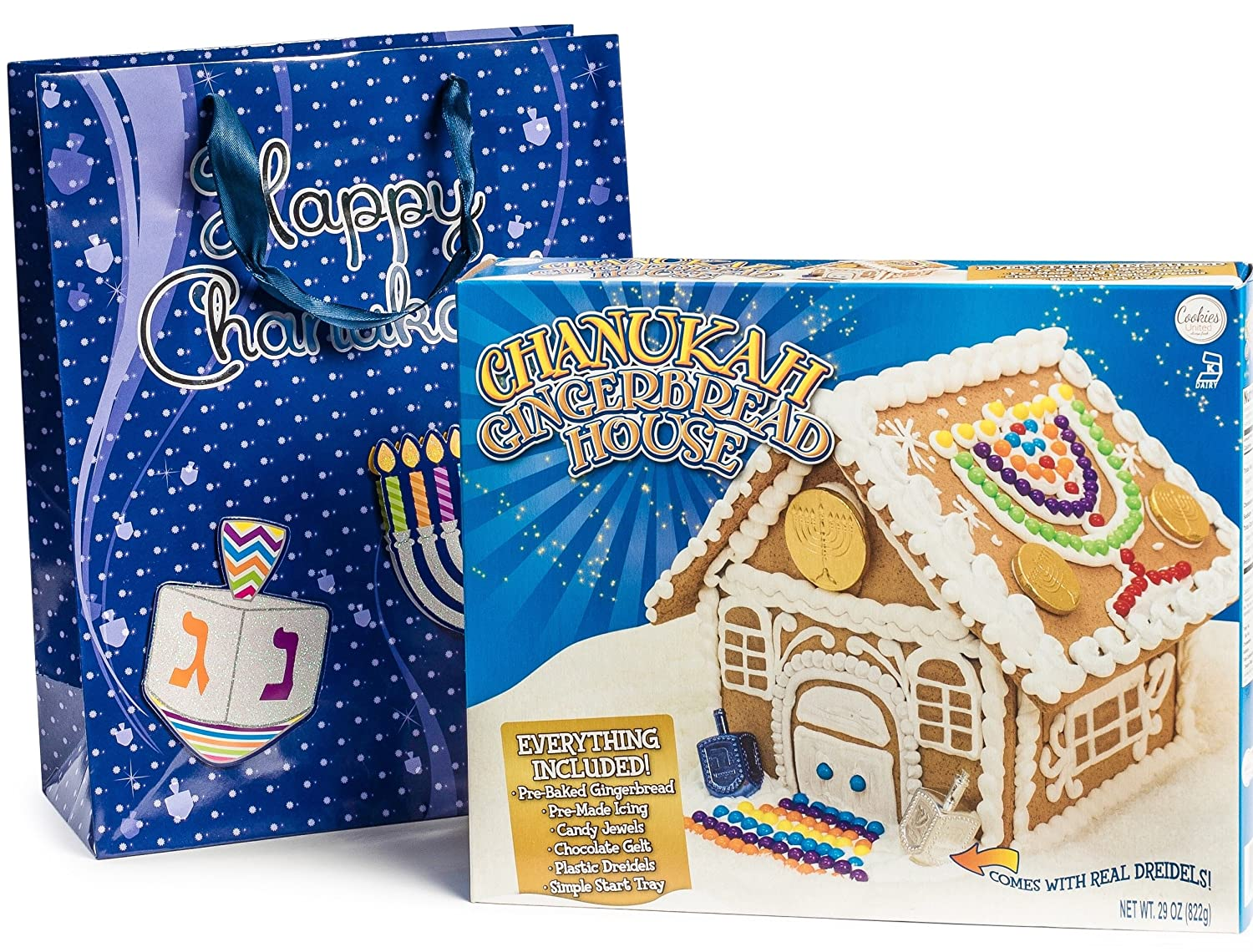 SALE! Happy Hanukkah Gourmet Chanukah Gingerbread House Kit for Kids and Entire Family, Comes Packaged in FREE Beautiful Hanukkah BAG!