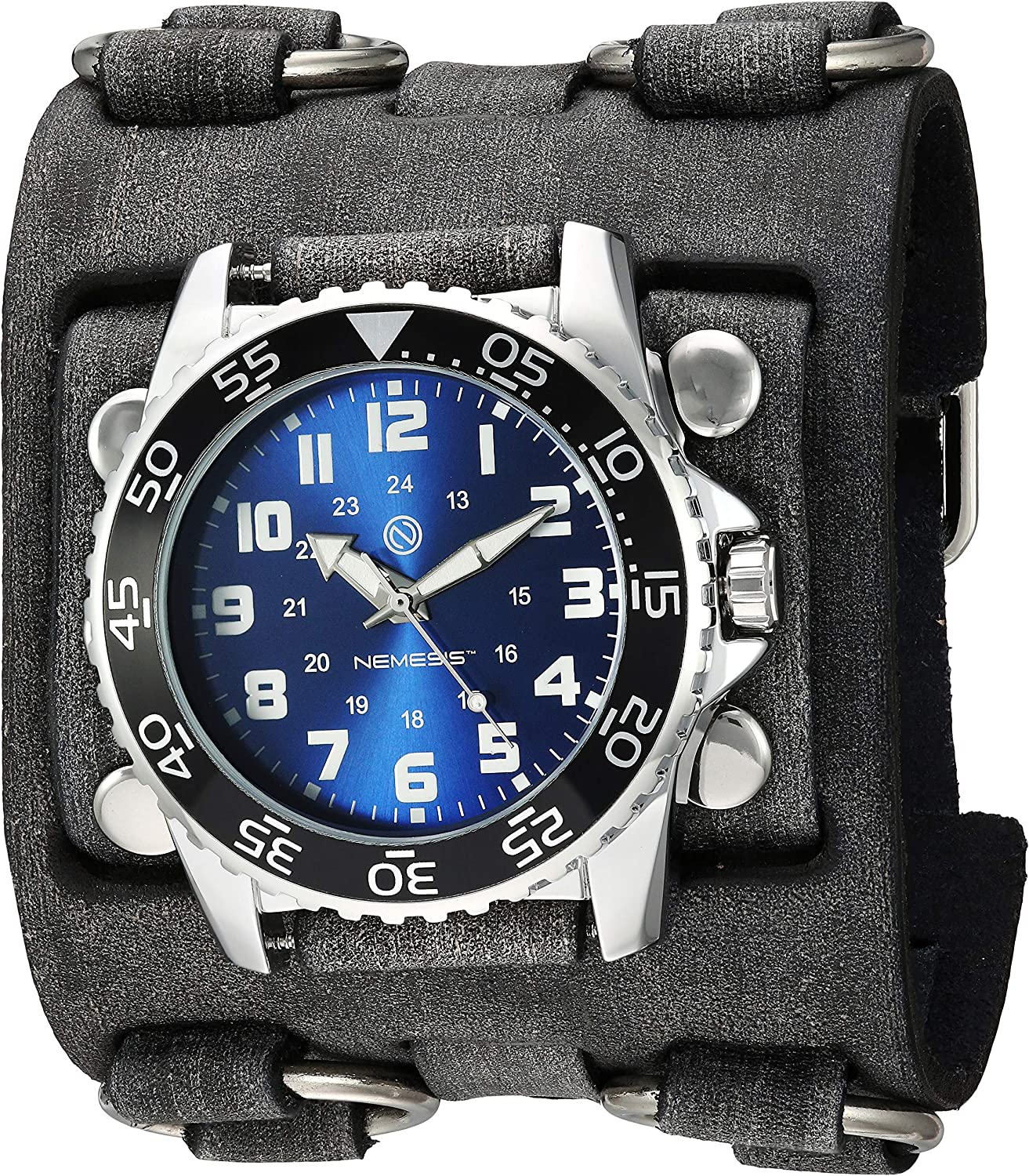 Nemesis Men s Hybrid Stainless Steel Analog-Quartz Leather Strap, Grey, 65.7 Casual Watch Model FWB257K