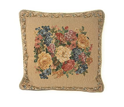 DaDa Bedding Throw Pillow Cover - Elegant Breath of Spring Golden Floral - 18
