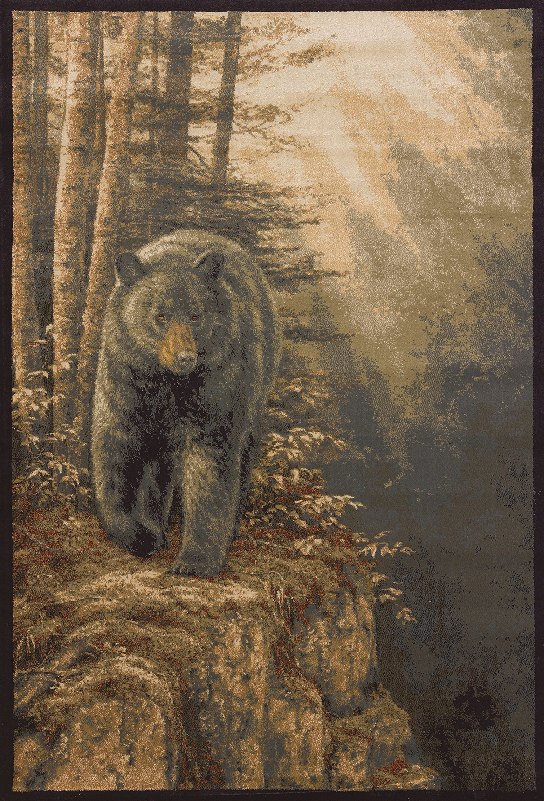 United Weavers of America Segma Rocky Black Bear Area Rug, Natural, 1'10'' x 3'