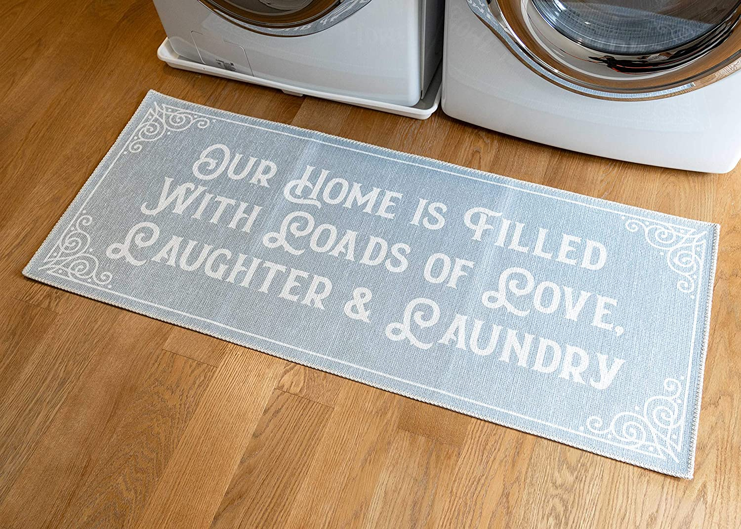Benissimo Laundry Room Rug, Non Skid Rubber Area Rugs, Cotton, Durable, Machine Washable, Runner Floor Mat for Washroom, Bathroom, Mudroom, Kitchen Decor, 24x56-LLLA