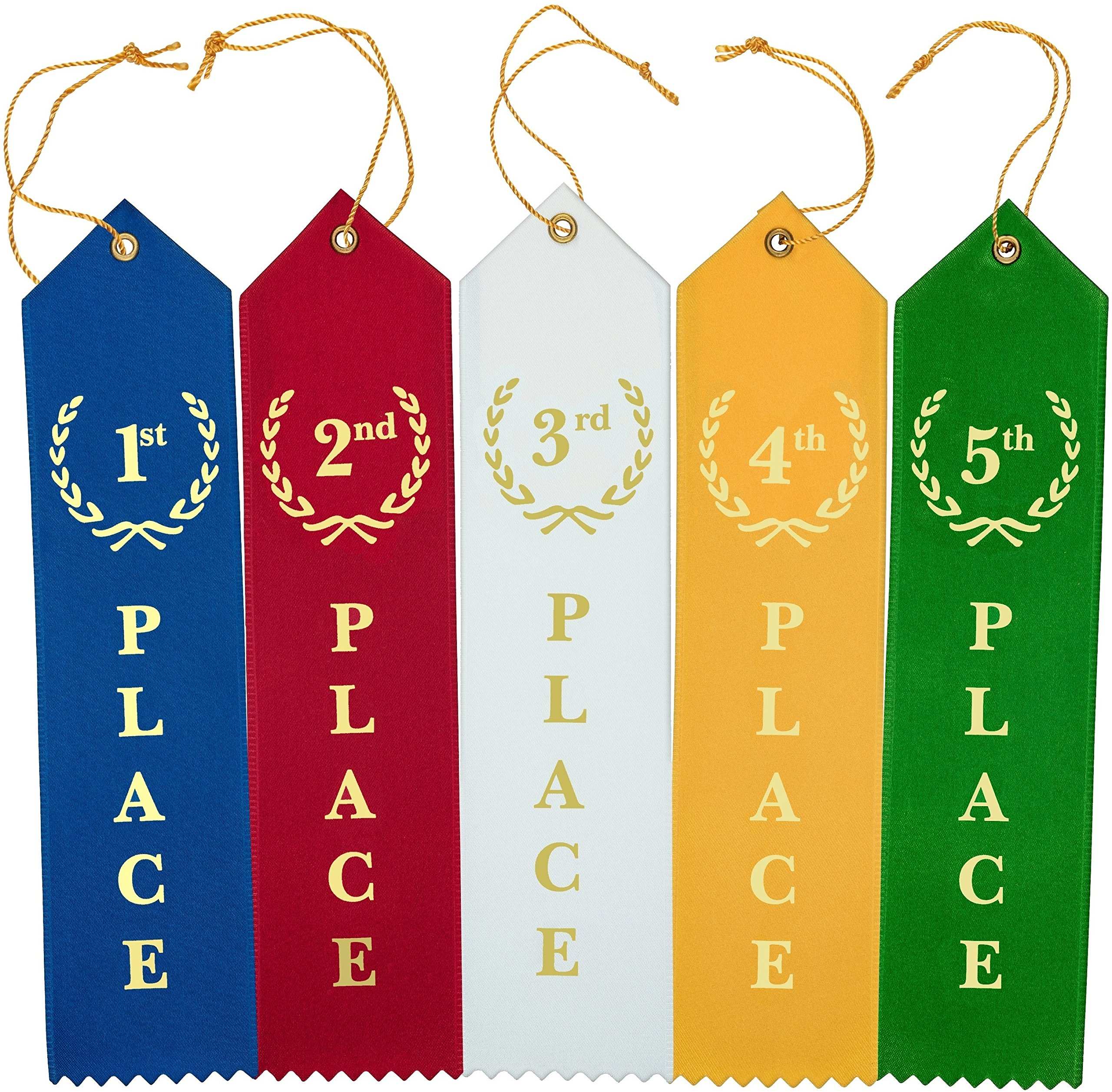 Flat Carded Award Ribbons 1st 2nd 3rd 4th 5th Place Set - Blue Red White Yellow Green with Event Card 12 Each - 60 Pack By Clinch Star