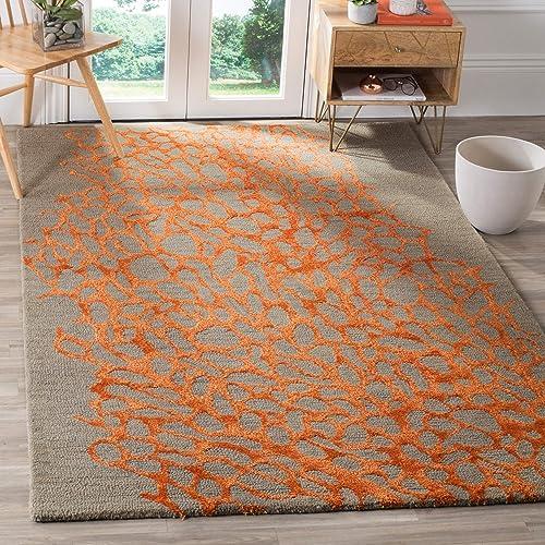 Safavieh Blossom Collection BLM695C Handmade Grey and Orange Premium Wool Area Rug 4 x 6