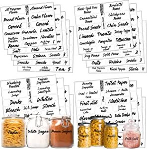 Pantry Bathroom Beauty Laundry Room Labels: 323 Classy Clear Preprinted Water Resistant Complete Label Set to Organize Storage Containers, Jars, Canisters, Laundry & Closet w/Extra Write-on Stickers