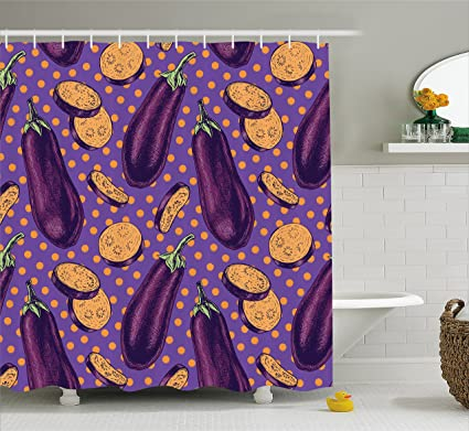 Ambesonne Eggplant Shower Curtain Realistic Looking Eggplants With Eighties Inspired And Dotted Purple Background