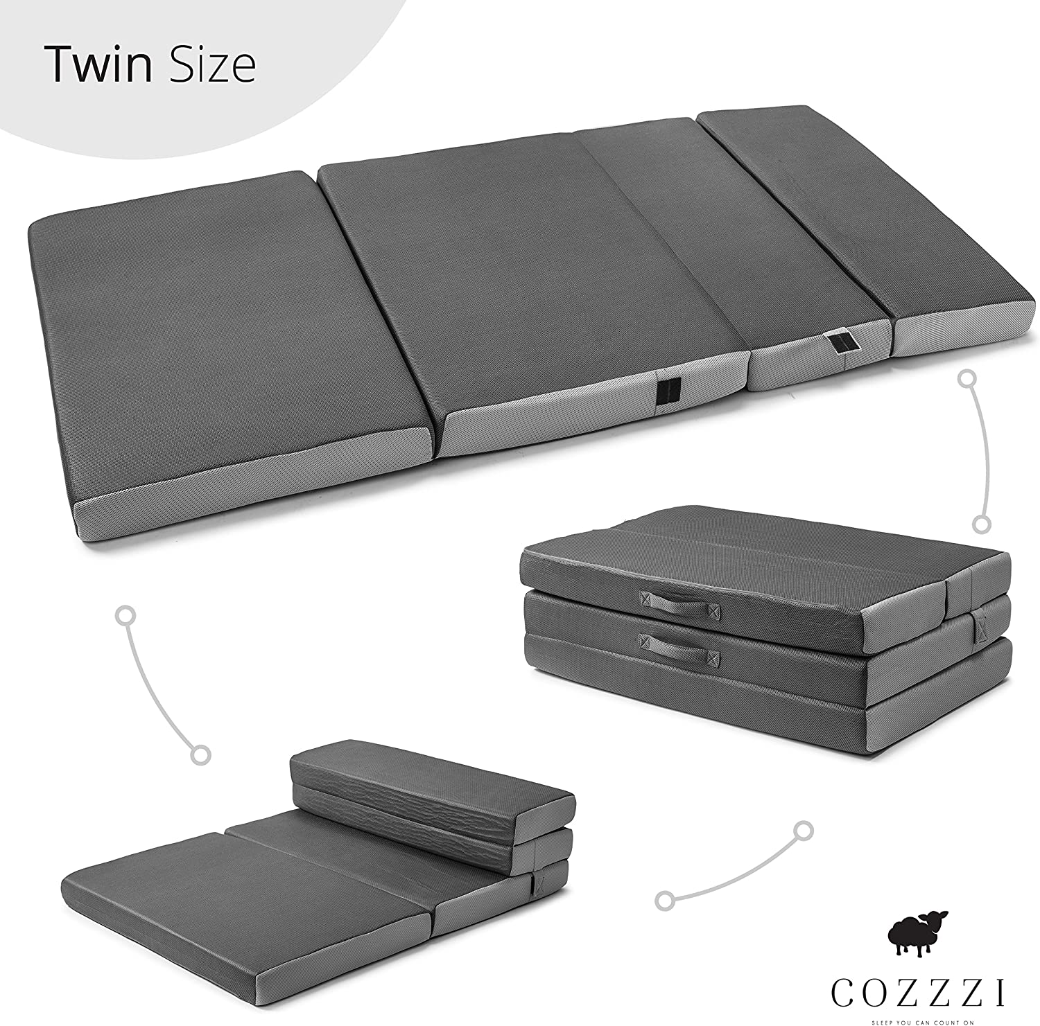 Cozzzi Twin Folding Mattress 4 Thick x 75 x 39 – Trifold Foam Mat with Carrying Handles and Removable Washable Cover Lightweight, Portable, Easy to Store
