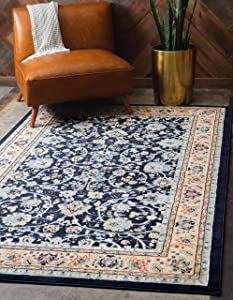 Unique Loom Kashan Collection Traditional Floral Overall Pattern with Border Navy Blue Area Rug (8' 0 x 10' 0)