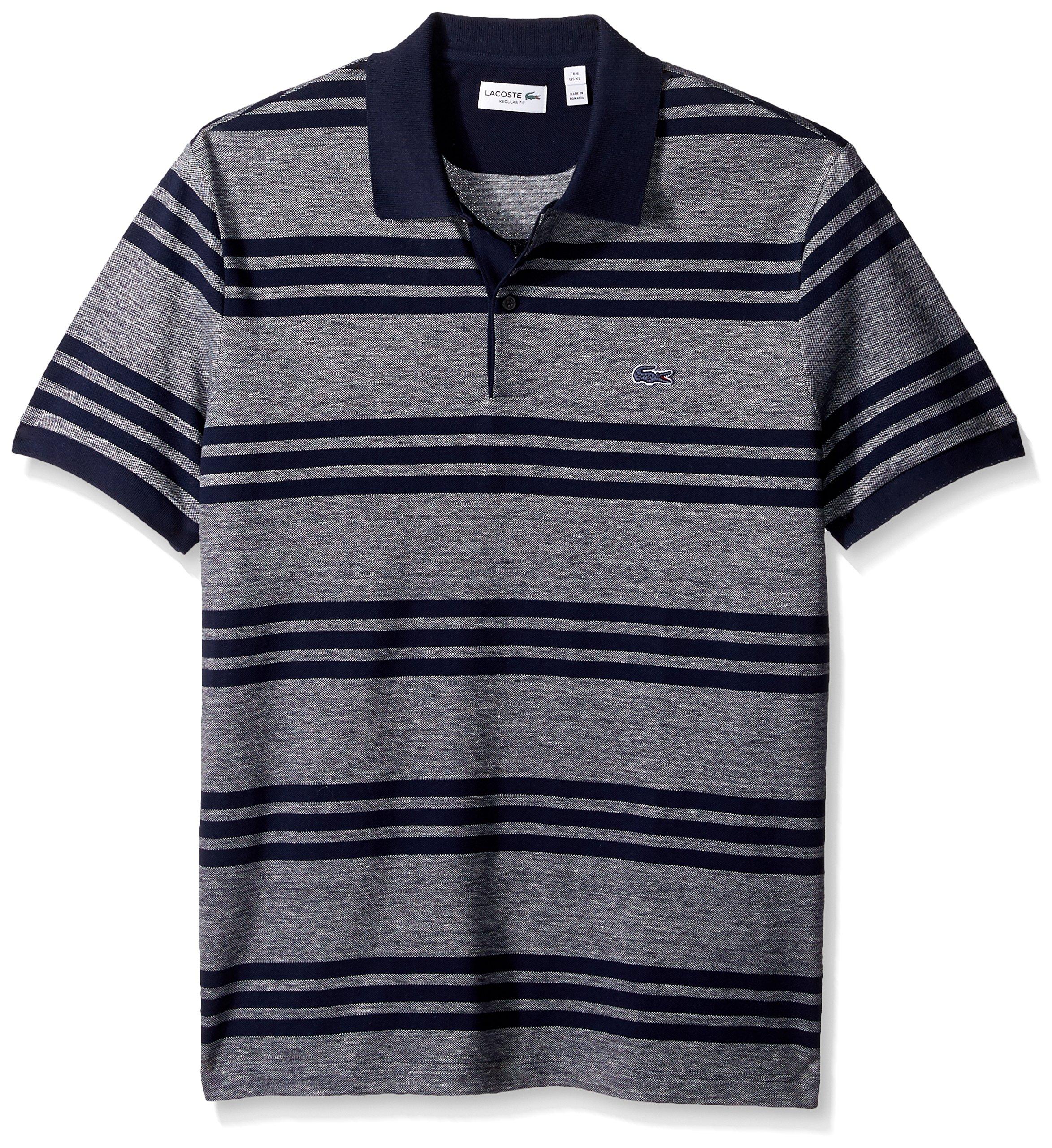 Lacoste Men's Father's Day Linen/Cotton Stripe Birds Eye Pique Polo, PH2072, Navy Blue/Flour-Navy Blue, XL