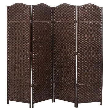 Amazoncom Mygift 6 Ft Tall Extra Wide Diamond Weave Fiber 4 Panel