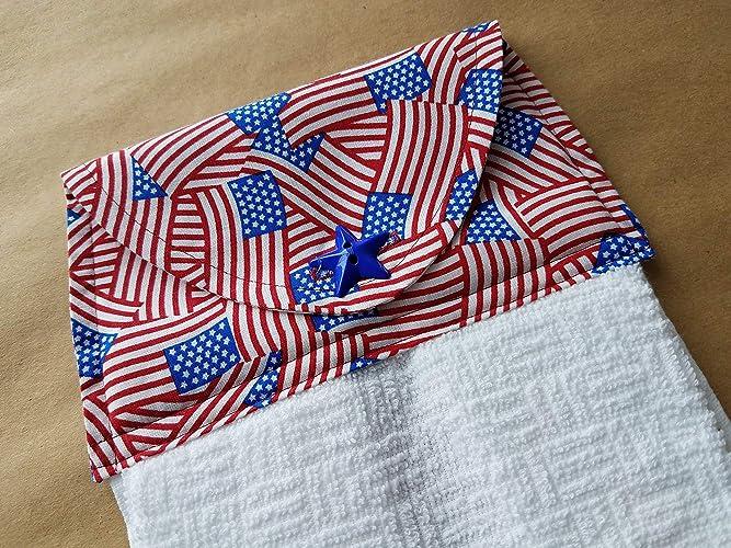 Amazon Com Patriotic Flag Hanging Kitchen Towel 4th Of July