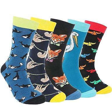 66fe10da3fd Pomlia® Lot 5 Chaussettes Fantaisie Homme Coton Peigné (B001)  Amazon.fr   Vêtements et accessoires