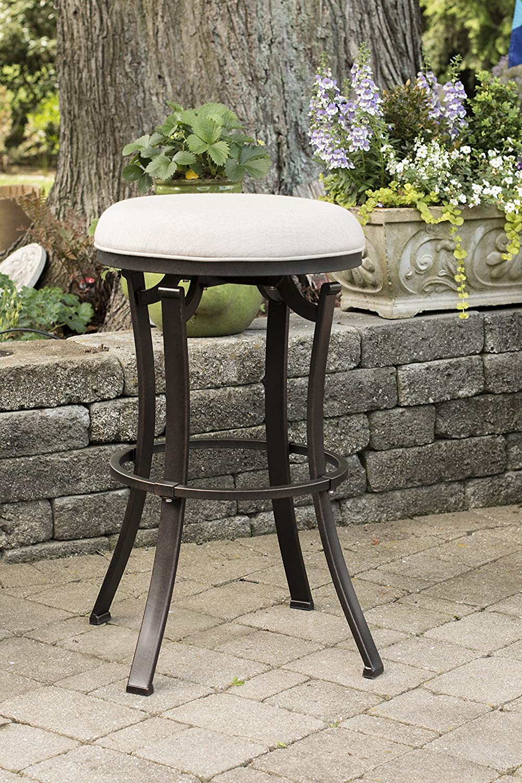 Black Hillsdale Furniture 6301-830 Bryce Indoor//Outdoor Backless Swivel Bar Stool