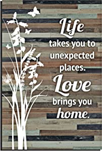 """Life Love Wood Plaque Inspiring Quotes 6x9 Inch - Durable and Rustic Vertical Wall and Tabletop Art Decoration with Easel and Hanging Hook 